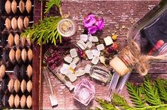 Ουσιαστικό πετρέλαιο και herbals στα μπουκάλια γυαλιού Στοκ φωτογραφίες με δικαίωμα ελεύθερης χρήσης