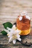Ουσιαστικό πετρέλαιο με jasmine το λουλούδι και τη βανίλια Στοκ εικόνες με δικαίωμα ελεύθερης χρήσης
