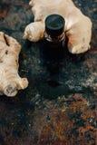 Ουσιαστικό πετρέλαιο πιπεροριζών στο μπουκάλι γυαλιού με τη ρίζα πιπεροριζών πίσω Στοκ Εικόνες