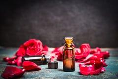 Ουσιαστικό πετρέλαιο τριαντάφυλλων για τα καλλυντικά προϊόντα, aromatherapy επεξεργασία Στοκ Εικόνες