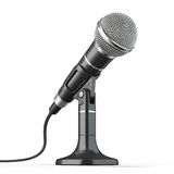 ουσιαστικό δυνατό μικρόφωνο ανασκόπησης για να σχεδιάσει το λευκό Στοκ Φωτογραφίες
