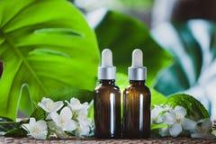 Ουσιαστικό jasmine πετρέλαιο Bioproduct, οργανικά καλλυντικά Στοκ εικόνα με δικαίωμα ελεύθερης χρήσης