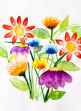 λουλούδια ι συντακτών watercolor εικόνων ζωγραφικής Στοκ φωτογραφία με δικαίωμα ελεύθερης χρήσης