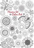 λουλούδια που τίθεντα&iot Τέχνη χρώματος Το χρωματίζοντας βιβλίο για την ενήλικη περισυλλογή και χαλαρώνει Στοκ Εικόνες