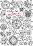 λουλούδια που τίθεντα&iot Τέχνη χρώματος Το χρωματίζοντας βιβλίο για την ενήλικη περισυλλογή και χαλαρώνει Στοκ Εικόνα