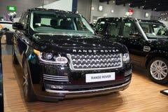12$ου το 2011 6ο καναρινιών αυτοκινήτων Λονδίνο motorexpo Δευτέρας Ιουνίου μια Κυριακή Range Rover στην αποβάθρα Στοκ φωτογραφία με δικαίωμα ελεύθερης χρήσης