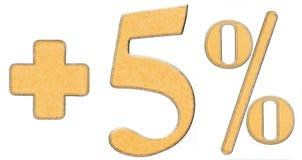 Οφέλη τοις εκατό, συν 5 πέντε τοις εκατό, αριθμοί που απομονώνονται στο μόριο Στοκ Εικόνες