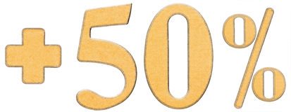 Οφέλη τοις εκατό, συν 50 πενήντα τοις εκατό, αριθμοί που απομονώνονται στο wh Στοκ Φωτογραφία
