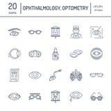 Οφθαλμολογία, εικονίδια γραμμών υγειονομικής περίθαλψης ματιών Εξοπλισμός οπτομετρίας, φακοί επαφής, γυαλιά, τύφλωση Διόρθωση ορά απεικόνιση αποθεμάτων