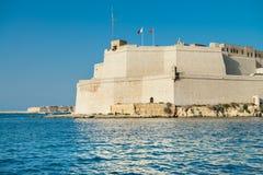 Οχυρό Άγιος Angelo από το νερό του μεγάλου λιμανιού, Birgu, Μάλτα Στοκ εικόνες με δικαίωμα ελεύθερης χρήσης