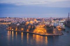 Οχυρό Άγιος Angelo Valletta στο σούρουπο Μάλτα Στοκ φωτογραφία με δικαίωμα ελεύθερης χρήσης