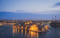 Οχυρό Άγιος Angelo Valletta στο σούρουπο Μάλτα Στοκ εικόνα με δικαίωμα ελεύθερης χρήσης
