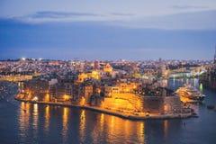 Οχυρό Άγιος Angelo Valletta στο σούρουπο Μάλτα Στοκ εικόνες με δικαίωμα ελεύθερης χρήσης