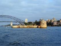 Οχυρό Denison και η λιμενική γέφυρα του Σίδνεϊ, Αυστραλία Στοκ Εικόνες