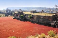Οχυρό Ranthambore και κόκκινη λίμνη, Ινδία στοκ εικόνα με δικαίωμα ελεύθερης χρήσης
