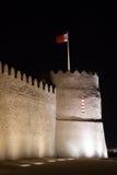 Οχυρό Riffa τη νύχτα, βασίλειο του Μπαχρέιν Στοκ Φωτογραφία