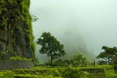 Οχυρό Shrivardhan στις βροχές, χωριό Rajmachi, Maharashtra στοκ εικόνες με δικαίωμα ελεύθερης χρήσης