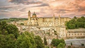 Ούρμπινο Marche Ιταλία στο χρόνο βραδιού Στοκ Εικόνες