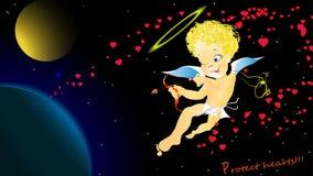 Ο άγγελος cupid προειδοποιεί προστατεύει τις καρδιές Στοκ εικόνες με δικαίωμα ελεύθερης χρήσης