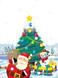 Ο Άγιος Βασίλης με το σύνολο σάκων παρουσιάζει - δώρα - στην ευτυχή πολική αρκούδα - με το χριστουγεννιάτικο δέντρο Στοκ φωτογραφία με δικαίωμα ελεύθερης χρήσης