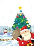 Ο Άγιος Βασίλης με το σύνολο σάκων παρουσιάζει - δώρα - στην ευτυχή πολική αρκούδα - με το χριστουγεννιάτικο δέντρο Στοκ Εικόνα