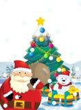 Ο Άγιος Βασίλης με το σύνολο σάκων παρουσιάζει - δώρα - στην ευτυχή πολική αρκούδα - με το χριστουγεννιάτικο δέντρο Στοκ Εικόνες
