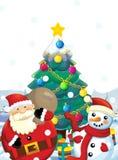 Ο Άγιος Βασίλης με το σύνολο σάκων παρουσιάζει - δώρα - τον ευτυχή χιονάνθρωπο - με το χριστουγεννιάτικο δέντρο - χριστουγεννιάτι Στοκ φωτογραφίες με δικαίωμα ελεύθερης χρήσης