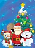 Ο Άγιος Βασίλης με το σύνολο σάκων παρουσιάζει - δώρα - τον ευτυχείς χιονάνθρωπο και στη πολική αρκούδα - με το χριστουγεννιάτικο Στοκ Εικόνες