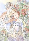 Ο άνδρας και η γυναίκα ερωτευμένοι μεταξύ των λουλουδιών την άνοιξη, των εραστών watercolor καρτών ευτυχίας και αγάπης στοκ φωτογραφία με δικαίωμα ελεύθερης χρήσης