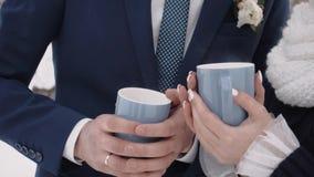 Ο άνδρας και η γυναίκα με δύο φλυτζάνια και thermos με το καυτό τσάι στη φύση το χειμώνα κλείνουν επάνω φιλμ μικρού μήκους