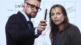 Ο άνδρας και η γυναίκα συζητούν τη επιχειρησιακή στρατηγική για την επιτυχία σε ένα σύγχρονο γραφείο γυαλιού φιλμ μικρού μήκους