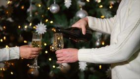 Ο άνδρας και η γυναίκα χύνουν τη σαμπάνια στα ποτήρια, που στέκονται κοντά στο χριστουγεννιάτικο δέντρο απόθεμα βίντεο