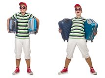 Ο άνδρας με τη βαλίτσα που απομονώνεται νεαρός στο λευκό στοκ εικόνα με δικαίωμα ελεύθερης χρήσης