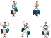 Ο άνδρας με τη βαλίτσα που απομονώνεται νεαρός στο λευκό στοκ φωτογραφίες με δικαίωμα ελεύθερης χρήσης