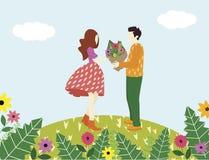 Ο άνδρας ομολογεί την αγάπη σε μια γυναίκα και δίνει το λουλούδι της ελεύθερη απεικόνιση δικαιώματος