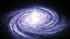 Ο άνευ ραφής βρόχος της σπειροειδούς γαλακτώδους περιστροφής γαλαξιών τρόπων γέμισε με τα αστέρια και τα νεφελώματα απεικόνιση αποθεμάτων