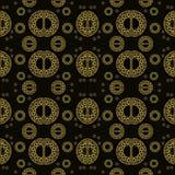 Ο άνευ ραφής κανονικός διακοσμητικός χρυσός Μαύρος σχεδίων ελεύθερη απεικόνιση δικαιώματος