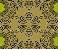 Ο άνευ ραφής σπειροειδής πράσινος Μαύρος ελιών σχεδίων χρυσός Στοκ φωτογραφία με δικαίωμα ελεύθερης χρήσης
