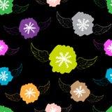 Ο άνευ ραφής φτερωτός snowflakes Μαύρος Στοκ Εικόνα