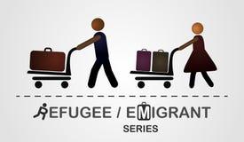 Ο άνδρας και η γυναίκα κινούνται με τις αποσκευές στο κάρρο Στοκ εικόνα με δικαίωμα ελεύθερης χρήσης