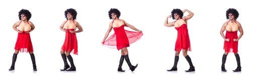 Ο άνδρας που ντύνει στο φόρεμα γυναικών Στοκ Εικόνες