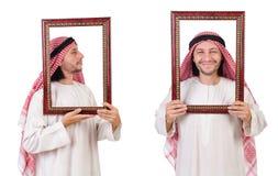 Ο Άραβας με το πλαίσιο εικόνων στο λευκό Στοκ Φωτογραφίες