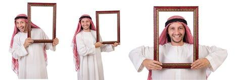 Ο Άραβας με το πλαίσιο εικόνων στο λευκό Στοκ φωτογραφία με δικαίωμα ελεύθερης χρήσης