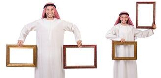Ο Άραβας με το πλαίσιο εικόνων στο λευκό Στοκ εικόνες με δικαίωμα ελεύθερης χρήσης