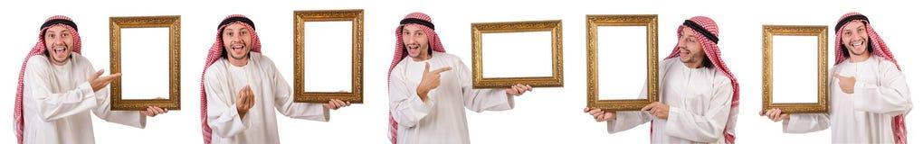 Ο Άραβας με το πλαίσιο εικόνων στο λευκό Στοκ φωτογραφίες με δικαίωμα ελεύθερης χρήσης