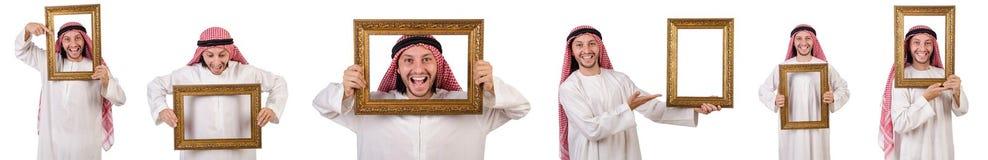 Ο Άραβας με το πλαίσιο εικόνων στο λευκό Στοκ Εικόνες
