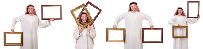 Ο Άραβας με το πλαίσιο εικόνων στο λευκό Στοκ Φωτογραφία