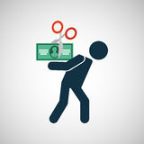 Δολάριο λογαριασμών οικονομικής κρίσης ατόμων σκιαγραφιών Στοκ Φωτογραφία