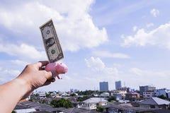 δολάριο τραπεζών piggy στοκ φωτογραφία
