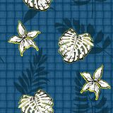 Ο άσπροι τροπικοί φοίνικας και τα φύλλα, ορχιδέα ανθίζουν σε διαθεσιμότητα συρμένη GR ελεύθερη απεικόνιση δικαιώματος